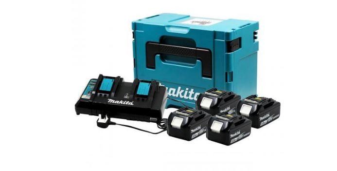 Kit Carregador Duplo DC18RD com 4 Baterias 18V 5,0Ah e Maleta MKP3PT184 - Makita