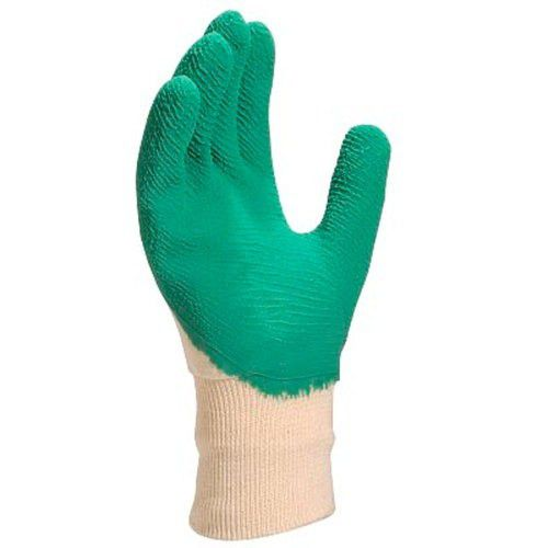 Luva de algodão Revestida em látex corrugado verde