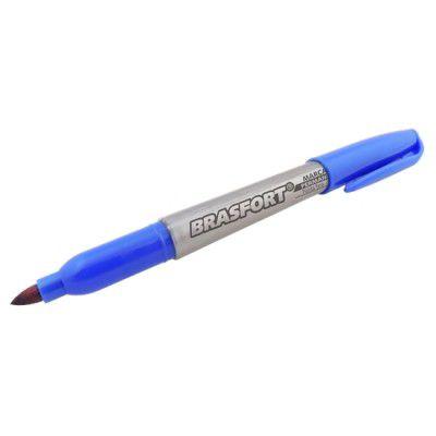 Marcador Caneta Permanente Azul com Ponta Fina 2mm Brasfort