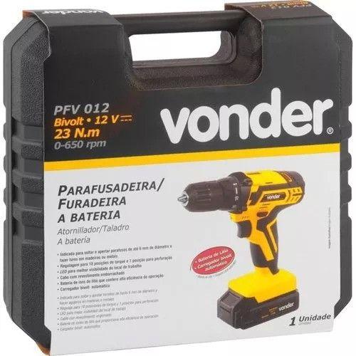 Parafusadeira/Furadeira 3/8 Pol. 12V à Bateria Lition Bivolt com Maleta e 12 Acessórios - VONDER-PFV012