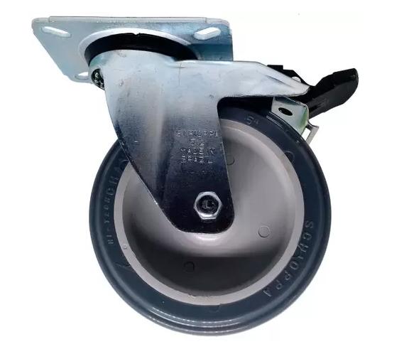 Rodizio Giratório Placa Com Freio Cinza Pvc 75 Kg 5 Pol 15,6 Cm de Altura GL512BPG - Schioppa