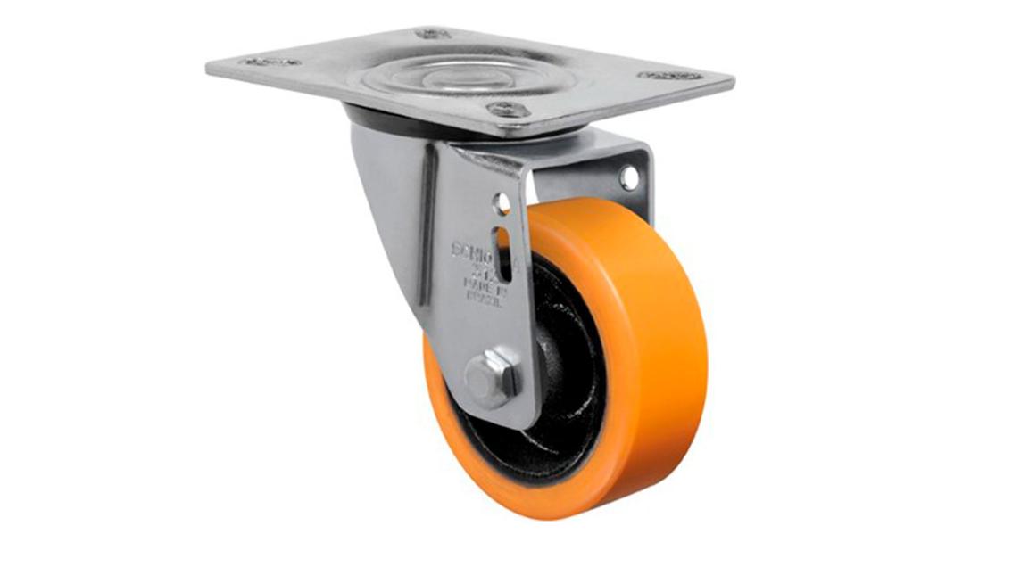 Rodizio giratório com placa 3 polegadas poliuretano capacidade de carga 170 kg - Schioppa GL 312 PE