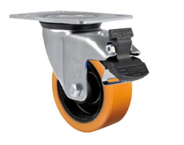 rodizio giratório placa 3 polegas  poliuretano com freio capacidade de carga 170 kg - Schioppa GL 312 PEG