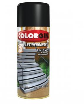Tinta Spray Acetinado Antiderrapante Preto 350ml Colorgin