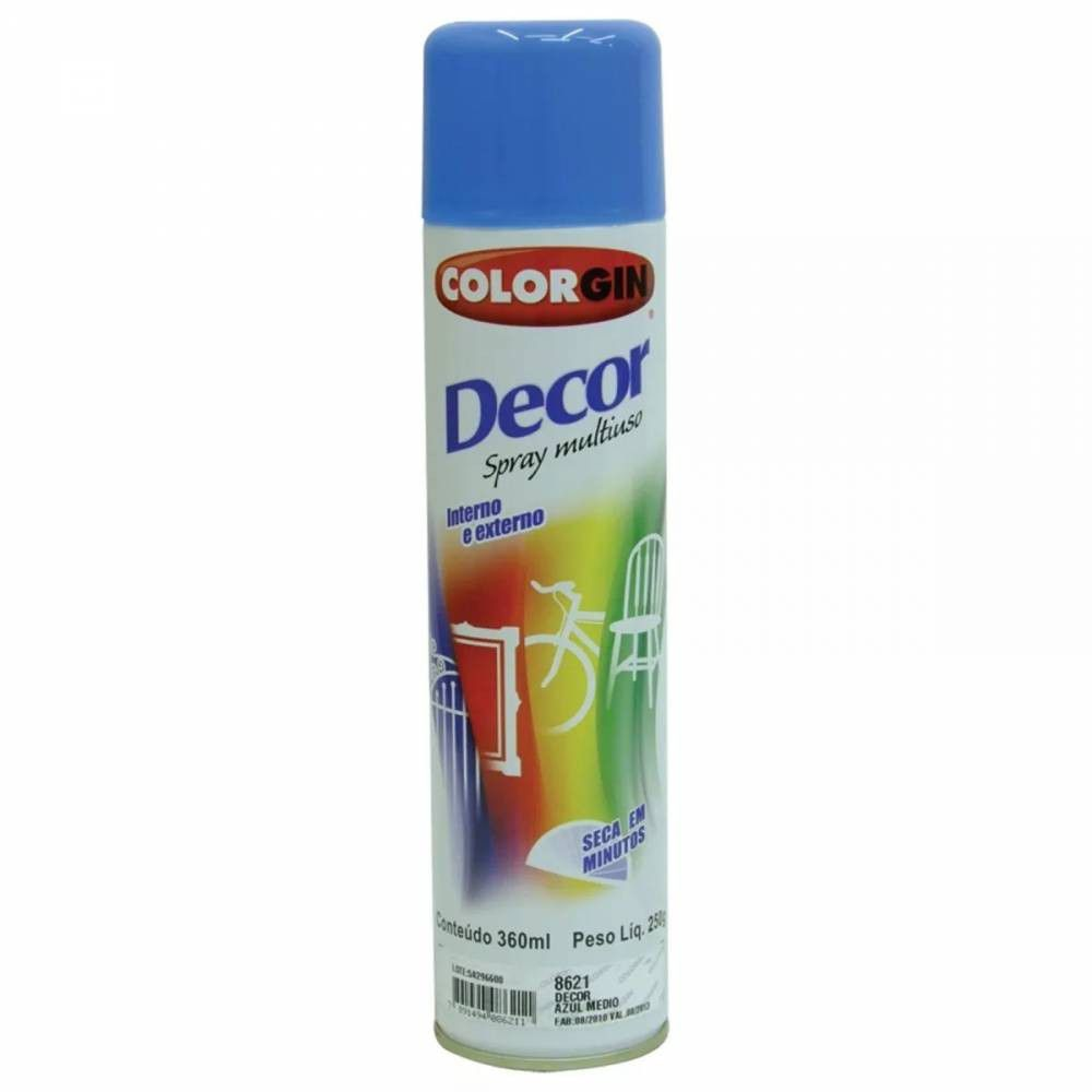 Tinta Spray Decor 8621 Azul Medio 250gr Colorgin