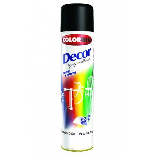 Tinta Spray Preto 360 ML - 250 GR Brilhante - DECOR COLORGIN