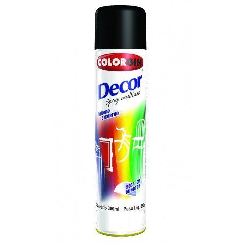Tinta Spray Preto 360 ML - 250 GR Fosco - DECOR COLORGIN