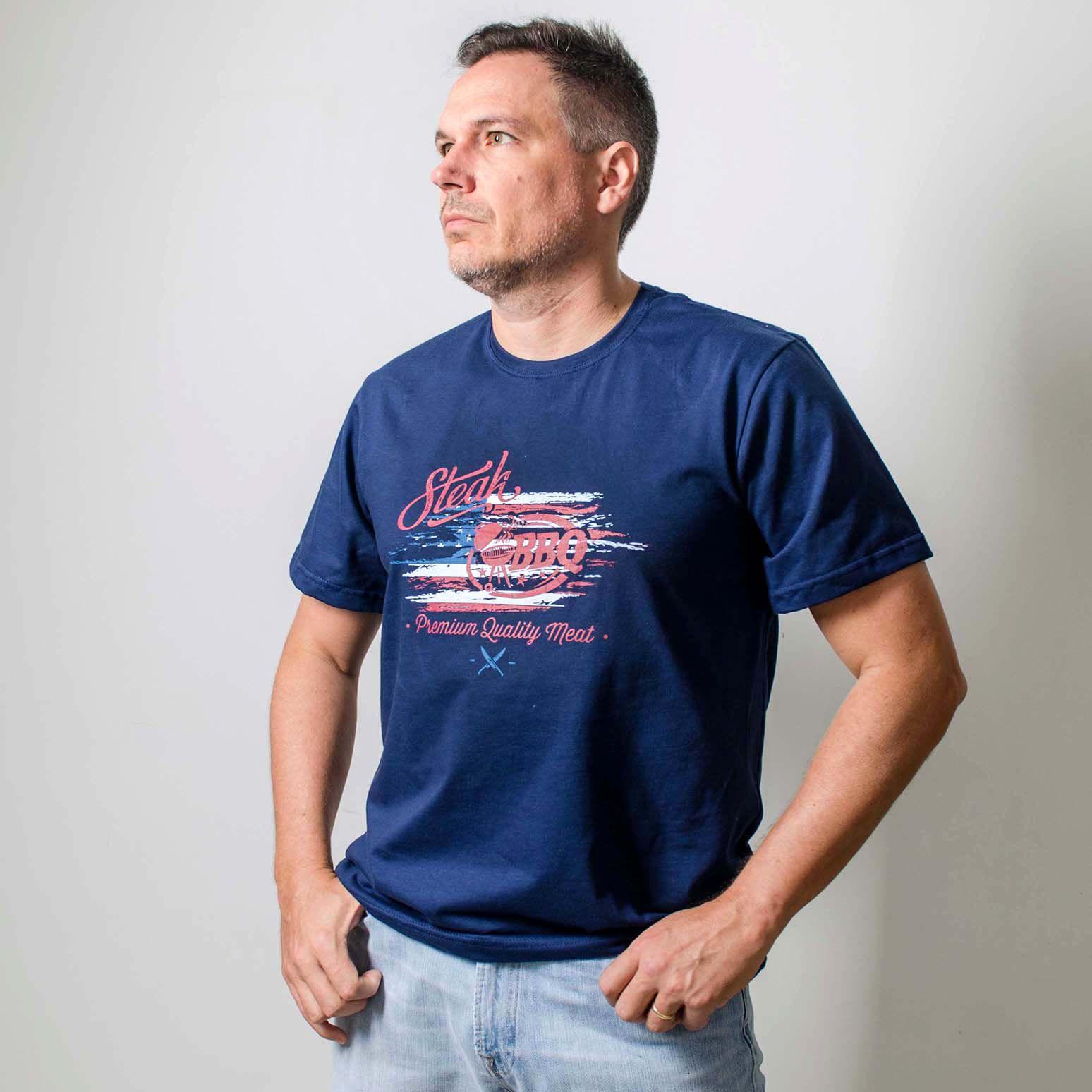 Camiseta Masculina Estampada BBQ  Steak Azul