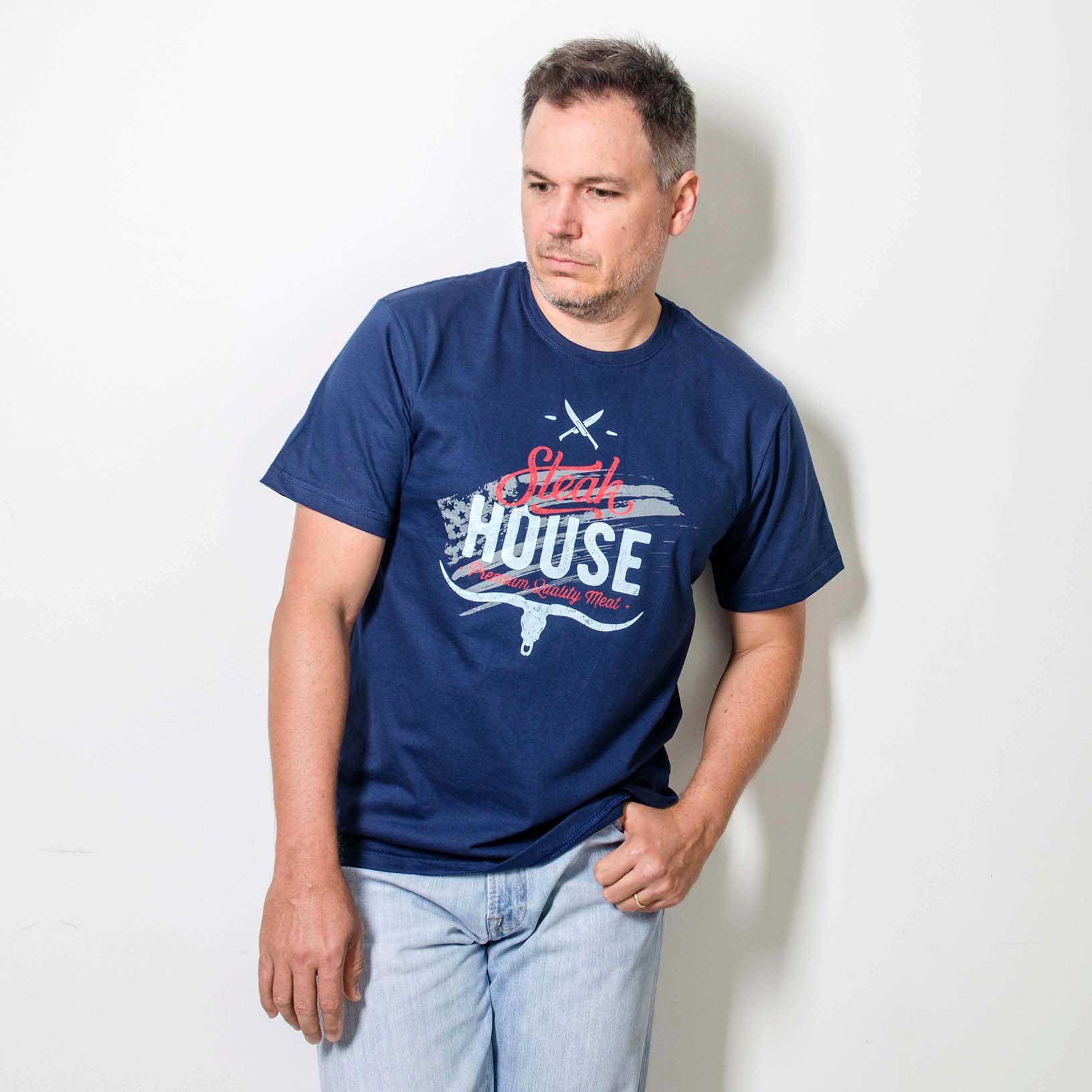 Camiseta Masculina Estampada BBQ  Steak House Azul
