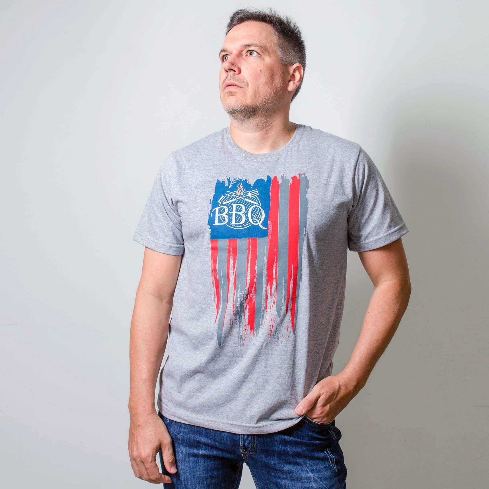 Camiseta Masculina Estampada BBQ  USA Cinza