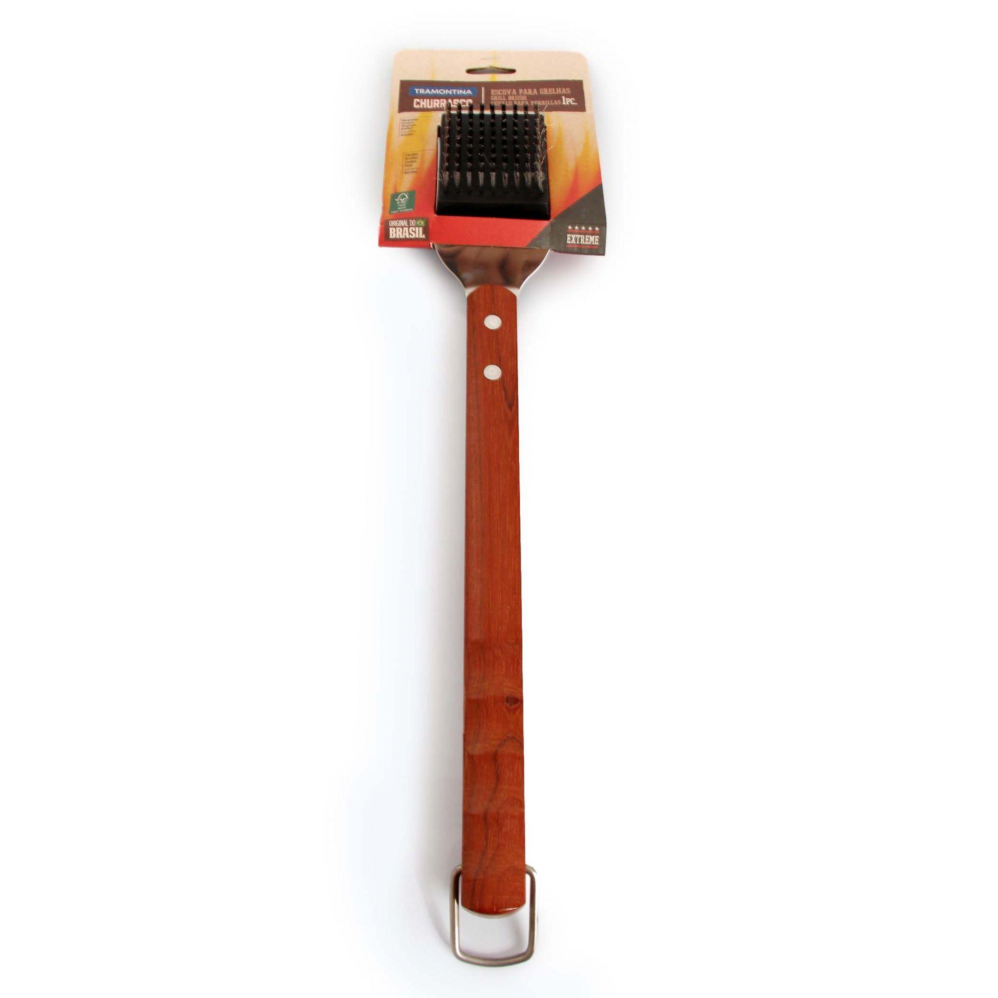 Escova Tramontina para Grelhas Churrasco com Lâmina em Aço Inox e Cabo de Madeira 44,3 cm