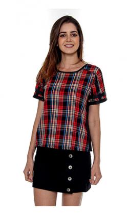 T Shirt Xadrez/couro