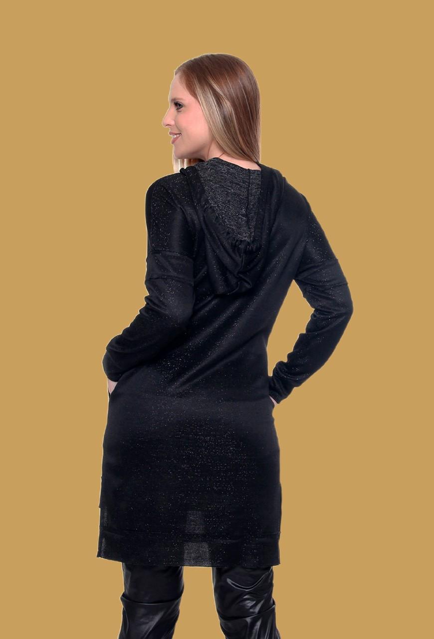 Blusa Longue Lã Com Capuz (pr)