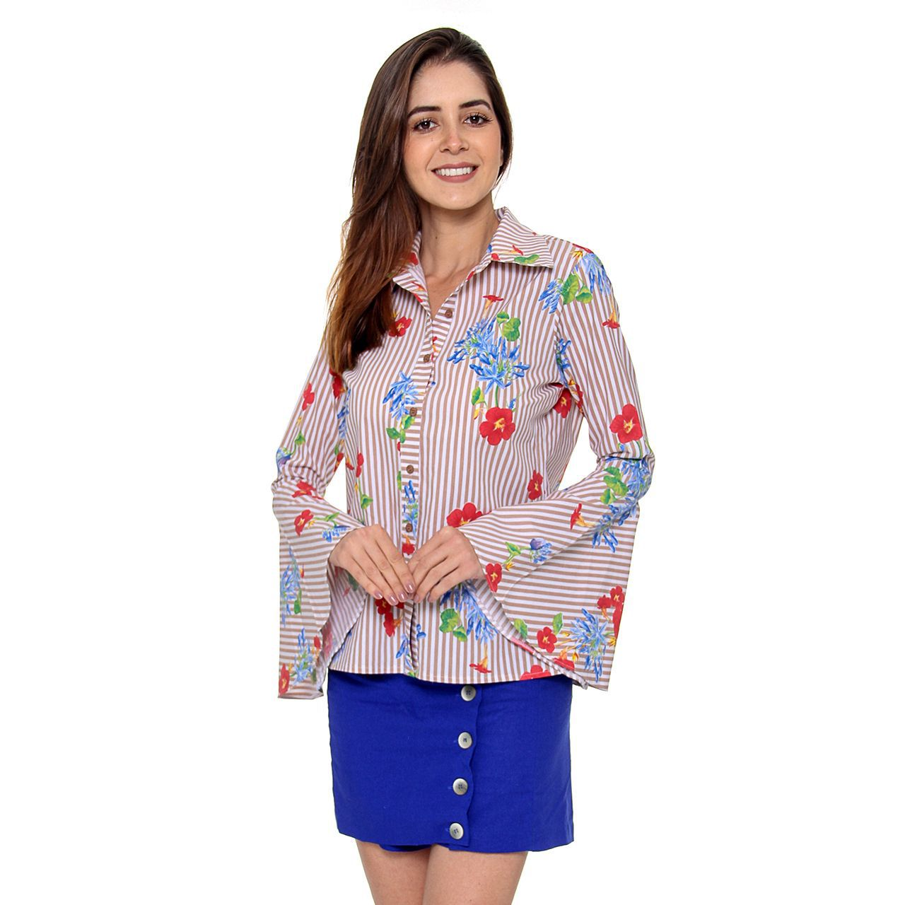 Camisa Floral Tricoline