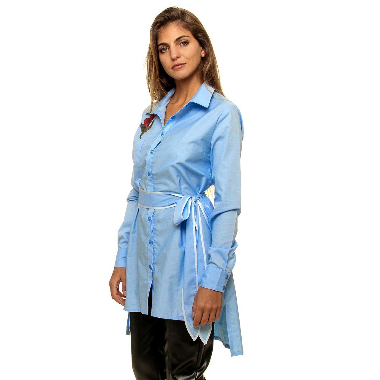 Camisa L/ Tricoline Bordada (pr)