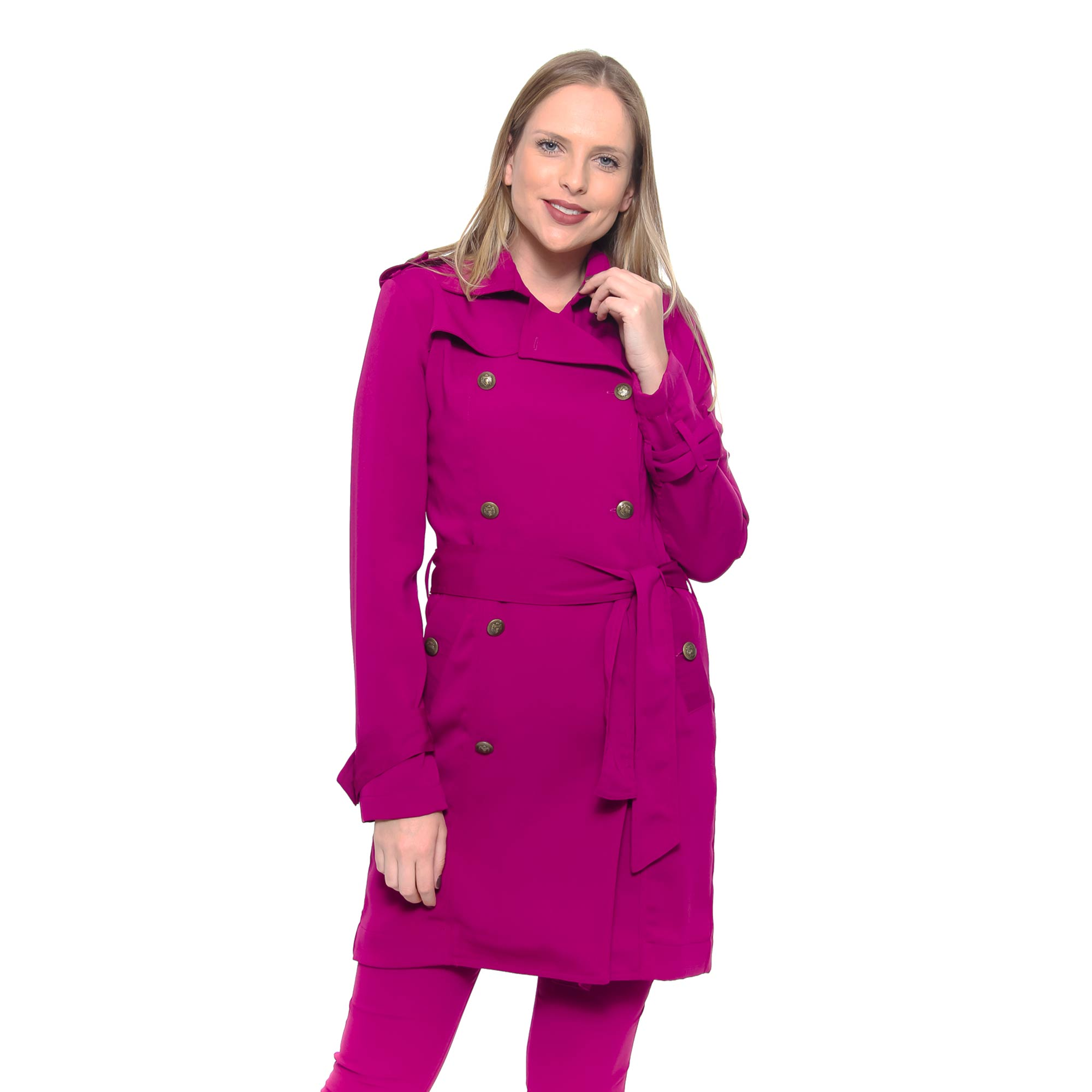 Trench Coat De Crepe Soft (pr)