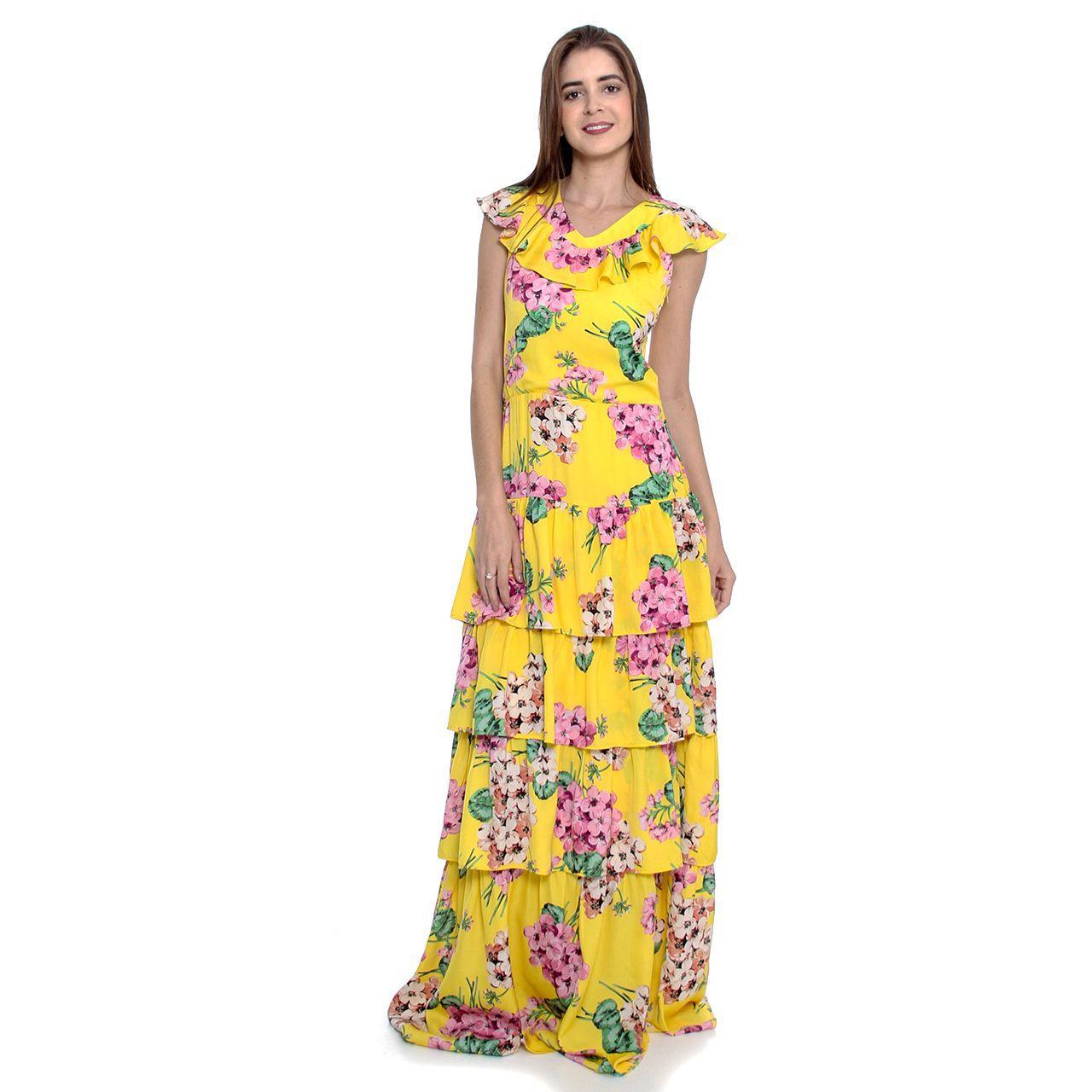 Vestido Longo Floral Babado (pr)