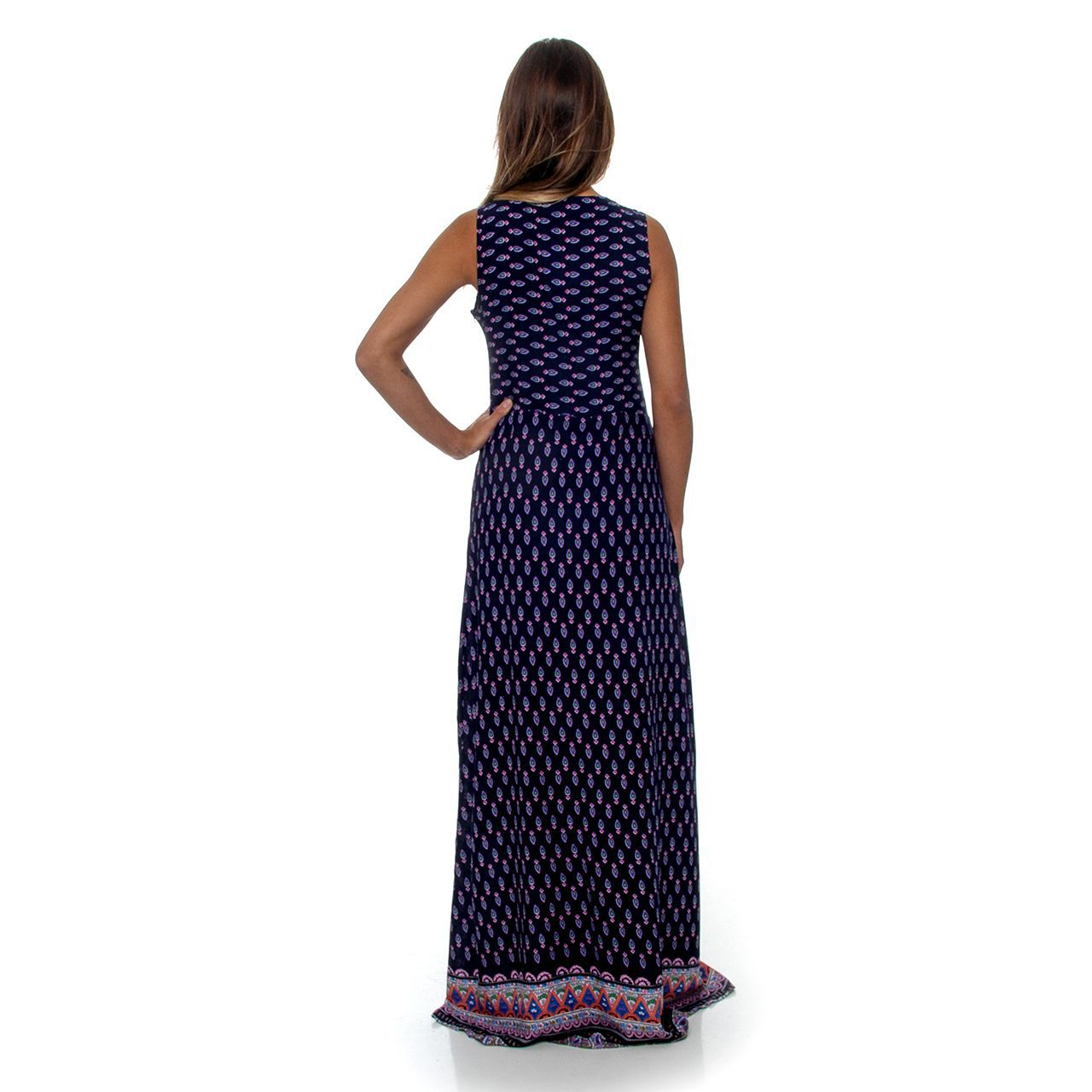 Vestido Regata Viscose Barrado
