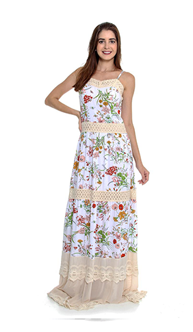 Vestindo Longo Floral Com Renda (PR)