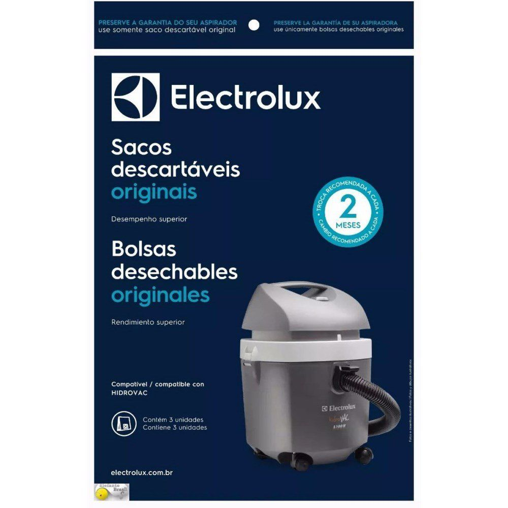 Saco Descartável Hidrovac Kit C/ 3 Unids 70035082 Electrolux