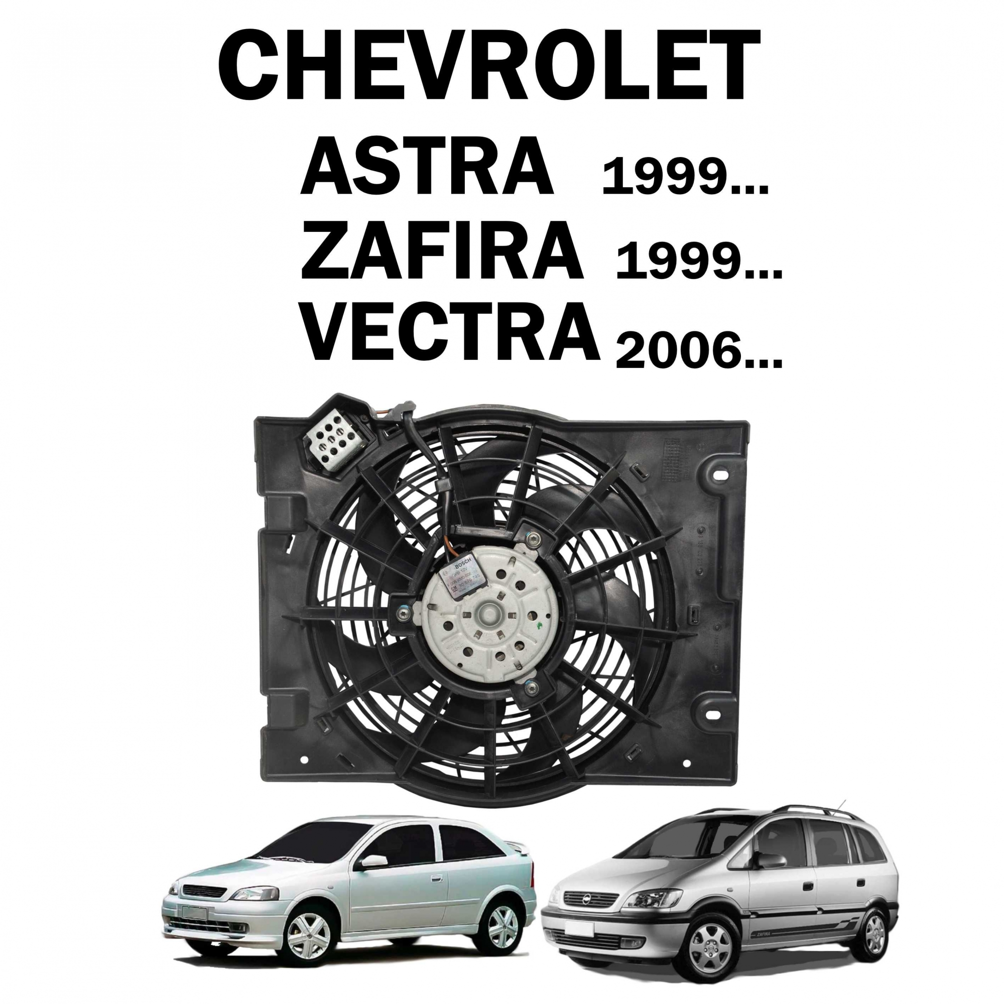 Eletroventilador Ventoinha Astra 99..., Zafira 99..., Vectra 2006... c/ AC Lado Condensador