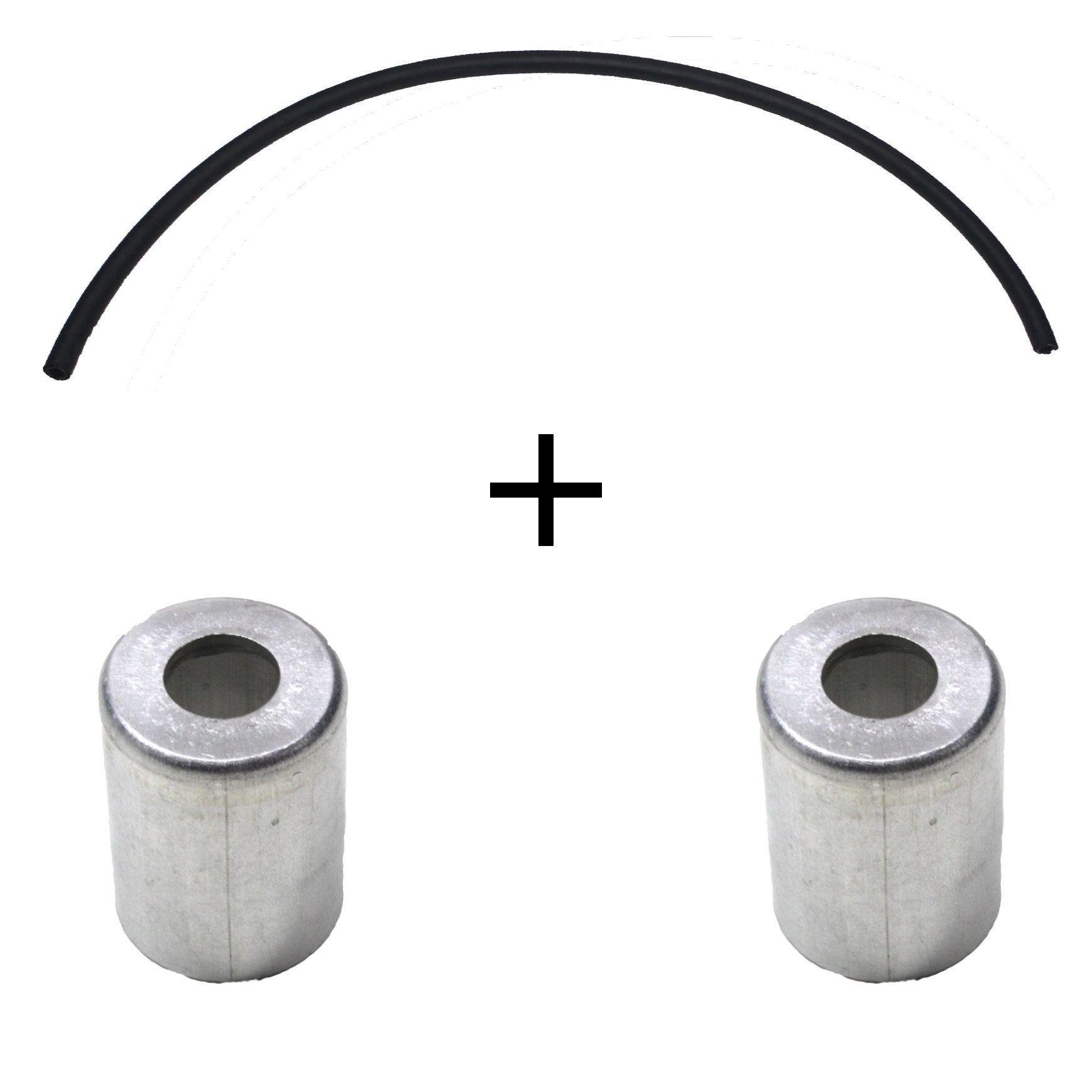 Par Copos Alumínio e 1 m Mangueira Ar Condicionado Universal 8 mm