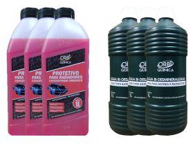 3 Aditivo Para Radiador Concentrado Orgânico Orbi Rosa + 3 Água Desmineralizada
