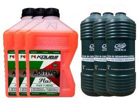 3 Aditivo Para Radiador Concentrado Koube Plus Laranja + 3 Água Desmineralizada