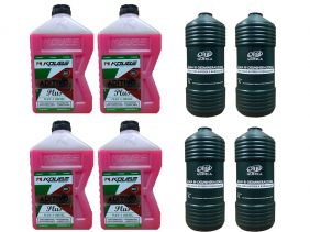 4 Aditivo Para Radiador Concentrado Koube Plus Rosa + 4 Água Desmineralizada