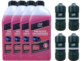 4 Aditivo Para Radiador Concentrado Orgânico Orbi Rosa + 4 Água Desmineralizada