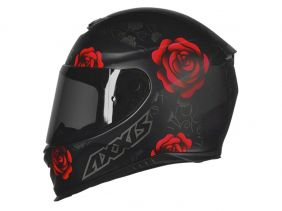 CAPACETE AXXIS EAGLE FLOWERS MATT BLACK/RED