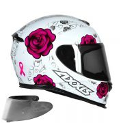 CAPACETE AXXIS EAGLE FLOWERS GLOSS WHITE PINK + VISEIRA SILVER