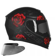 CAPACETE AXXIS EAGLE FLOWERS MATT BLACK RED + VISEIRA SILVER