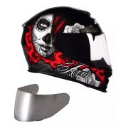 CAPACETE AXXIS EAGLE LADY CATRINA GLOSS RED + VISEIRA SILVER