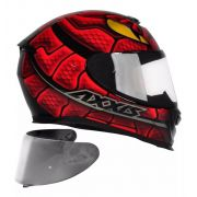 CAPACETE AXXIS EAGLE SKULL SNAKE GLOSS BLACK RED + VISEIRA SILVER