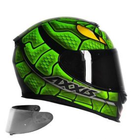 CAPACETE AXXIS EAGLE SNAKE GLOSS BLACK GREEN + VISEIRA SILVER
