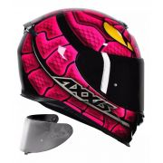 CAPACETE AXXIS EAGLE SNAKE GLOSS BLACK PINK + VISEIRA SILVER