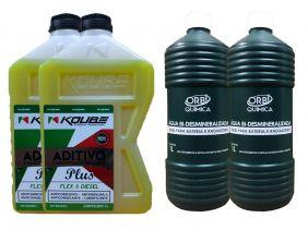 2 Aditivo Para Radiador Concentrado Koube Plus Amarelo + 2 Água Desmineralizada