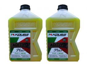 Kit Com 2 Litros De Aditivo Koube Plus Flex Diesel Amarelo
