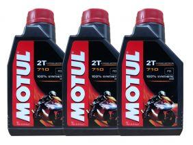 KIT COM 3 LITROS DE ÓLEO MOTUL 710 2T MOTO
