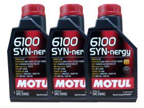 Kit Com 3 Litros De Óleo Sintético Motul 6100 Syn-nergy 5w40