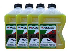Kit Com 4 Litros De Aditivo Koube Plus Flex Diesel Amarelo