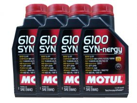 Kit Com 4 Litros De Óleo Sintético Motul 6100 Syn-nergy 5w40