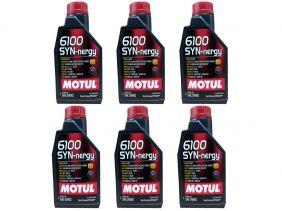 Kit Com 6 Litros De Óleo Sintético Motul 6100 Syn-nergy 5w40