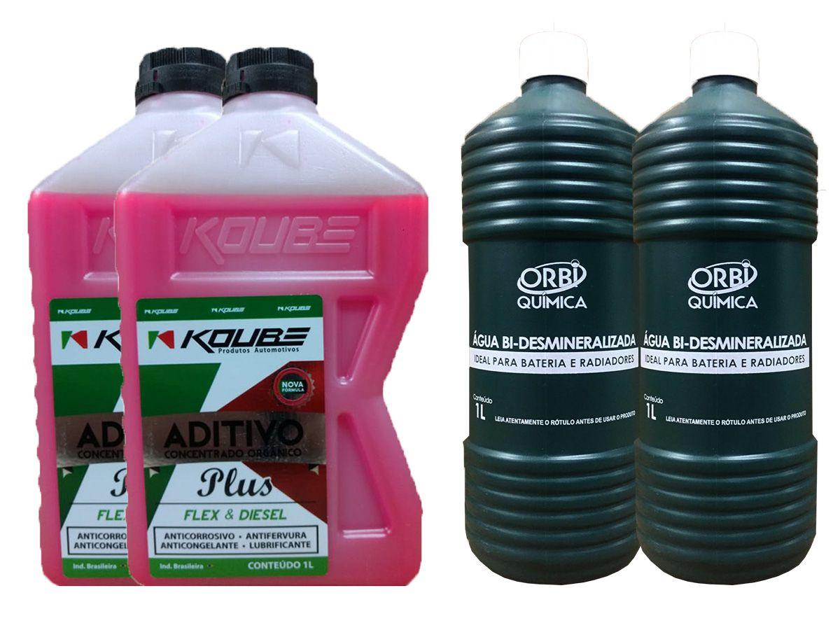 2 Aditivo Concentrado Koube Rosa + 2 Água Desmineralizada