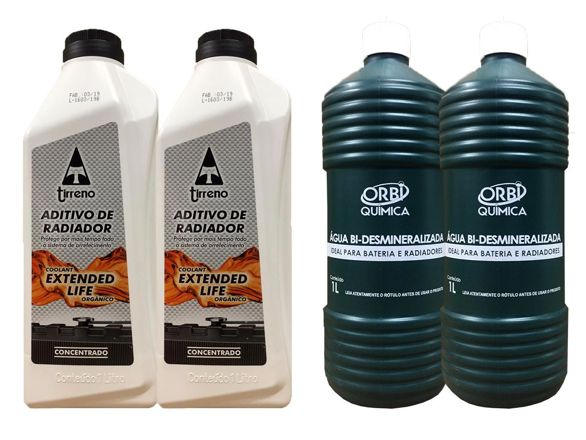 2 Aditivo De Radiador Tirreno Concentrado Orgânico Coolant Extended Life Laranja + 2 Água Desmineralizada