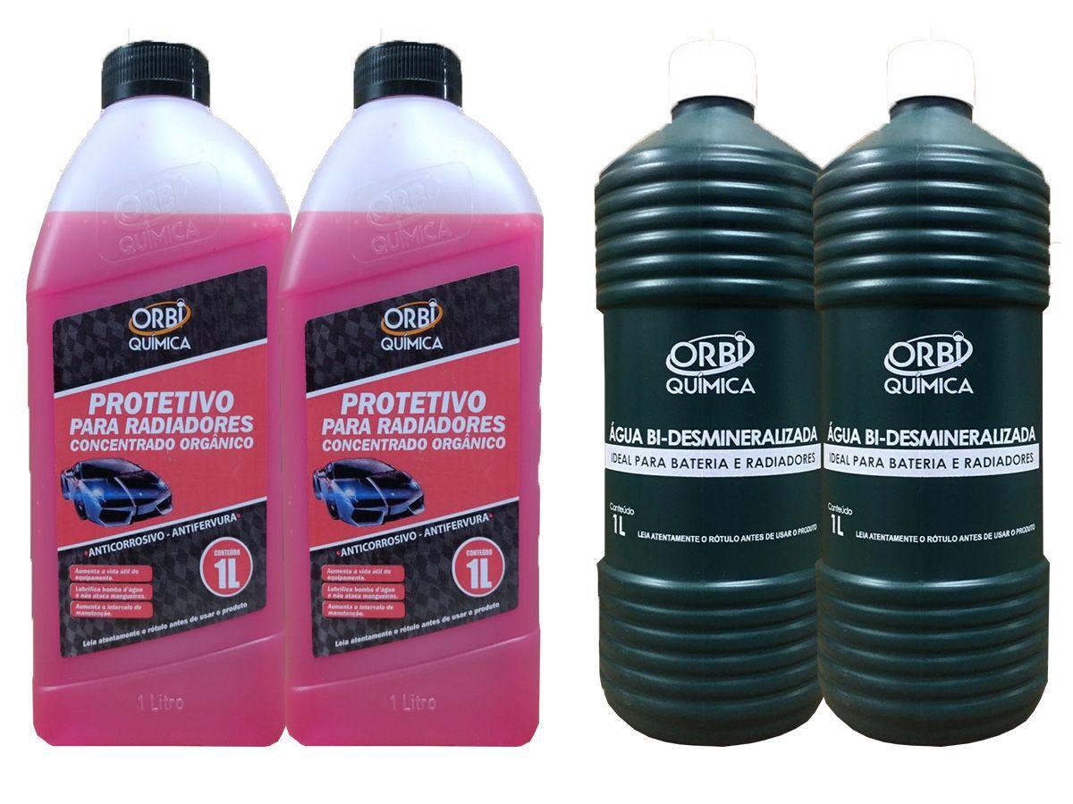 2 Aditivo Para Radiador Concentrado Orgânico Orbi Rosa + 2 Água Desmineralizada