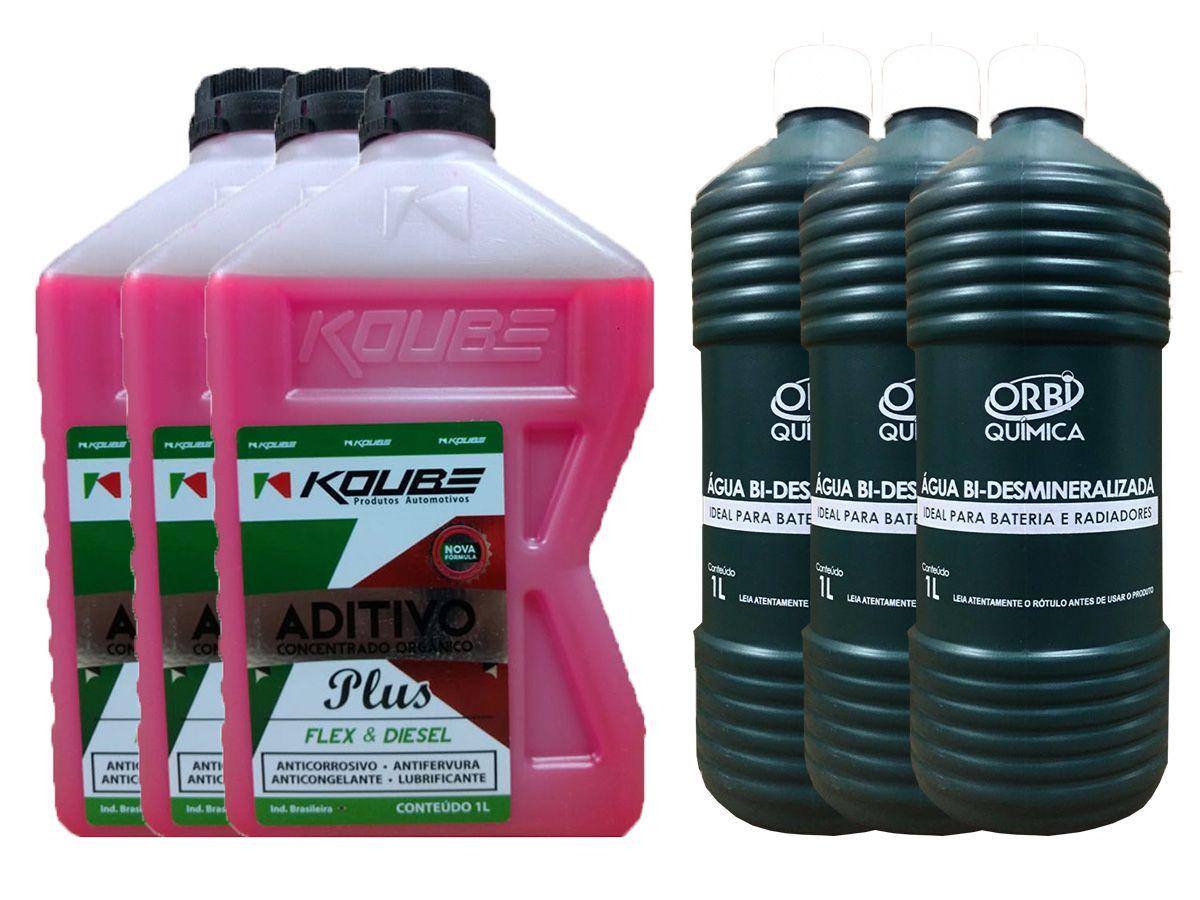 3 Aditivo Para Radiador Concentrado Koube Plus Rosa + 3 Água Desmineralizada