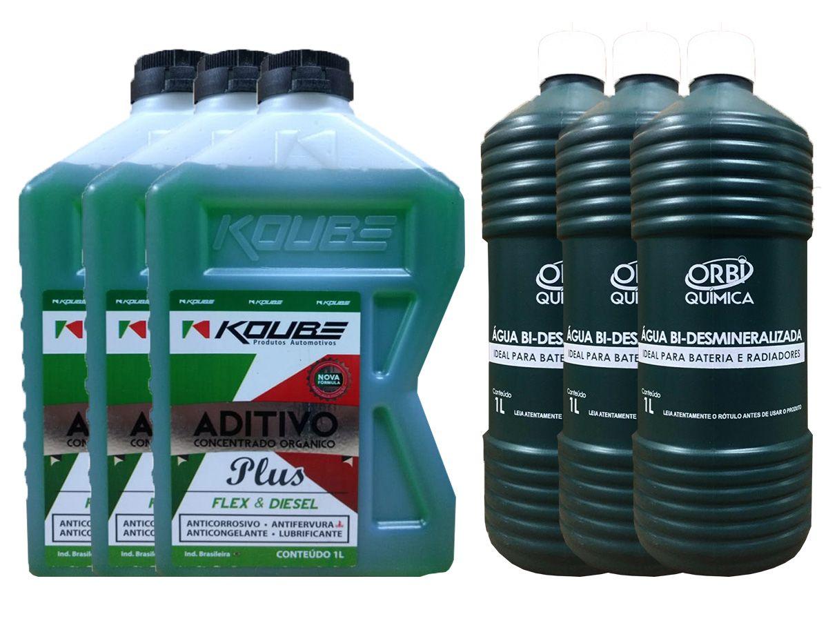 3 Aditivo Para Radiador Concentrado Koube Plus Verde + 3 Água Desmineralizada