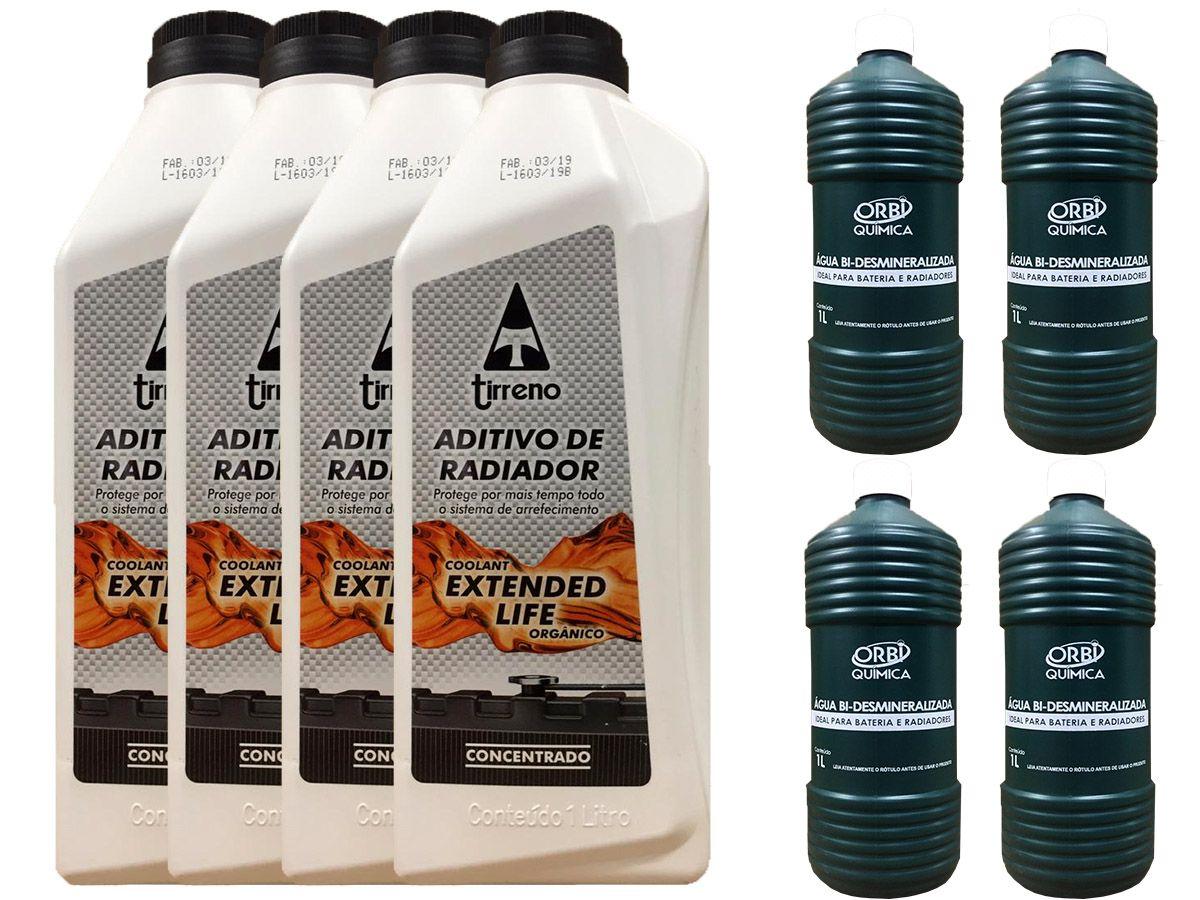 4 Aditivo De Radiador Tirreno Concentrado Orgânico Coolant Extended Life Laranja + 4 Água Desmineralizada